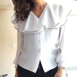 White Ruffle Blouse Vintage Gold Collar Top M L